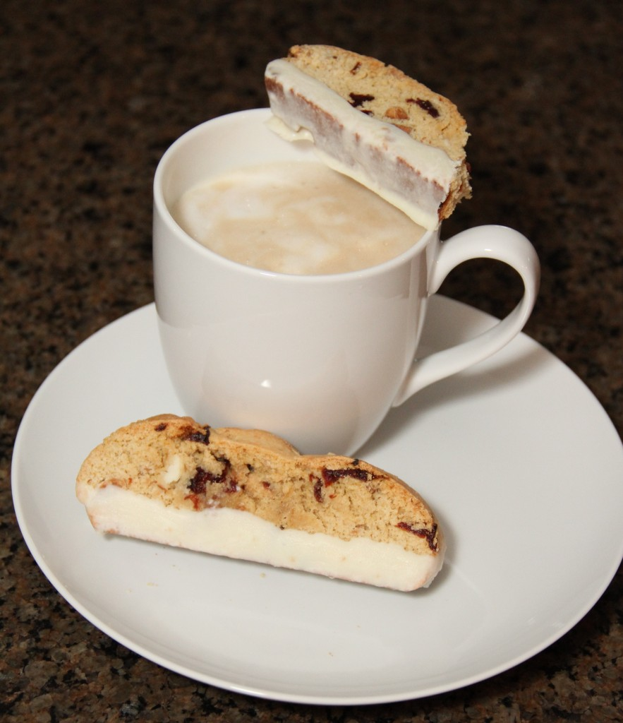 Cherry Almond White Chocolate Biscotti {Satisfy My Sweet Tooth}