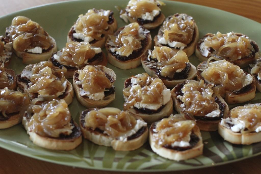 ... Fig butter, Goat cheese and Caramelized onion crostini recipe