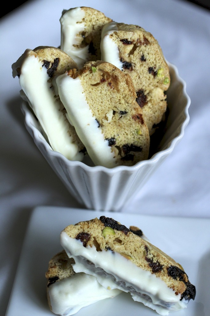 White Chocolate, Pistachio and Dried Berry Biscotti {Satisfy My Sweet Tooth}