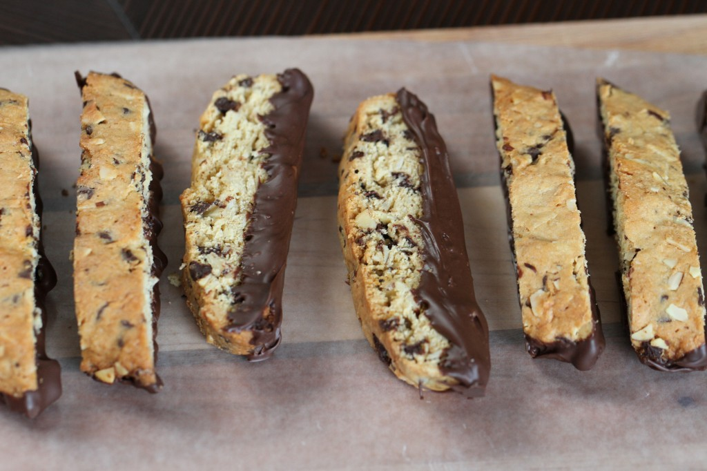 Almond Coconut Chocolate Chip Biscotti {Satisfy My Sweet Tooth}