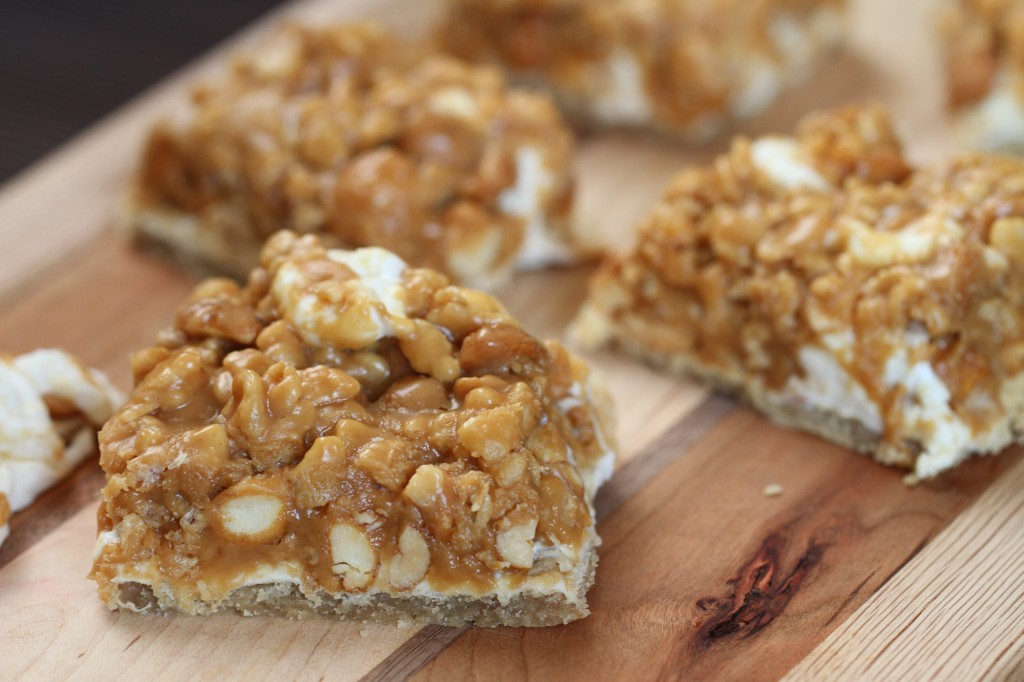 Honey Roasted Peanut Marshmallow Bars {Satisfy My Sweet Tooth}