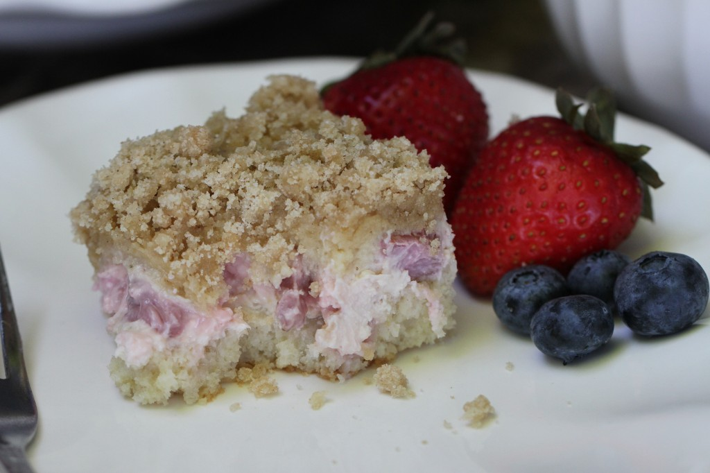 Strawberry Rhubarb Cream Cheese Streusel Coffee Cake {Satisfy My Sweet Tooth}