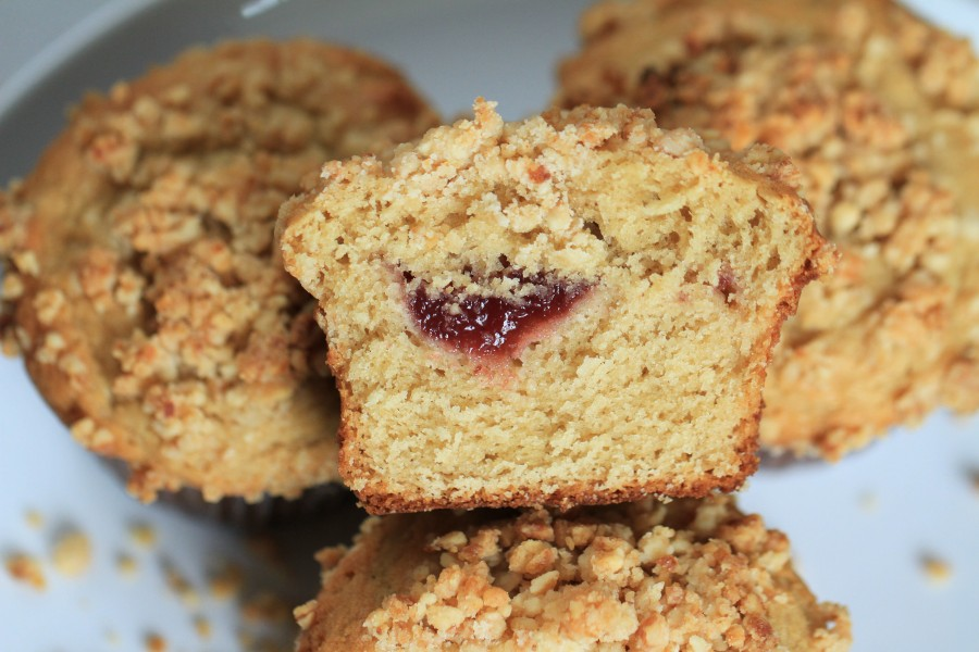 Peanut Butter and Jelly Crumb Muffins